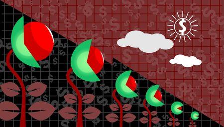 earnings: Illustration of saplings and a dollar sun