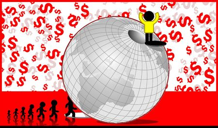 stockmarket: Illustration of a man standing on top of a globe