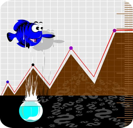 Illustration of a fish jumping out of aquarium and graph  illustration