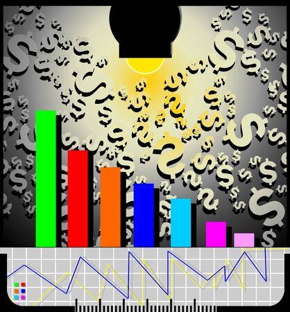 stockmarket: Illustration of light dollar wall and graph  Stock Photo