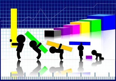 Illustration of children making graph