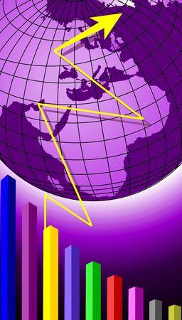 Illustration of globe, arrow and graph  illustration