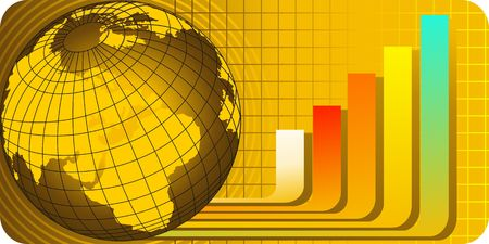 Illustration of globe and graph in yellow background Stock Illustration - 3389082