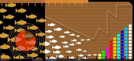 stockmarket: Illustration of group of fishes and graph