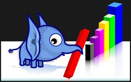 Illustration of an elephant making a graph  illustration