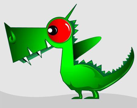 imaginativeness: Illustration of fantasy of a green dinosaur