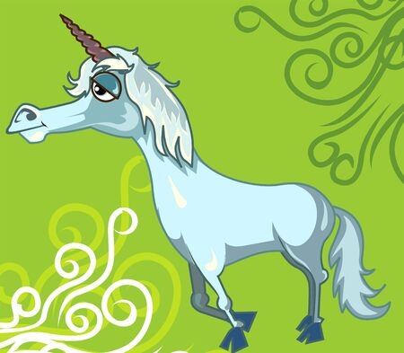 imaginativeness: Illustration of fantasy of a horse with horn  Stock Photo