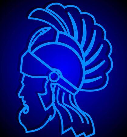 imaginativeness: Illustration of roman warrior in fluorescent blue  Stock Photo