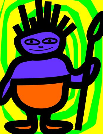 imaginativeness: Illustration of fantasy of a tribal man