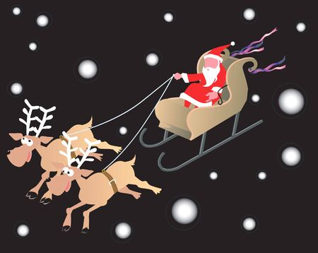 Illustration of Santa clause riding in a sledge  illustration