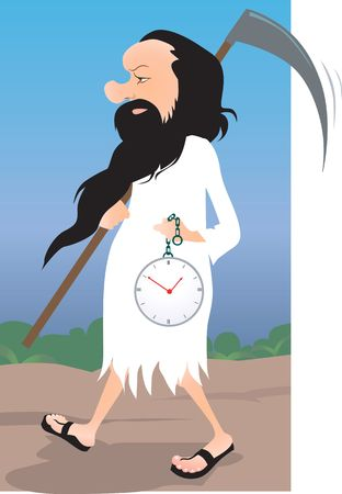 vicar: Illustration of a vicar carrying a clock  Stock Photo