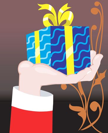 unopened: Illustration of gift box wrapped with colour paper in hand  Stock Photo