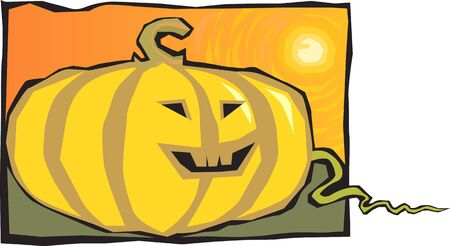 Illustration of Human faced Pumpkin with eyes and mouth Stock Illustration - 3389191
