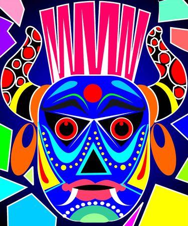 Illustration of fantasy of a tribal mask