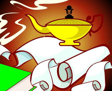 imaginativeness: Illustration of fantasy of a Aladdin�s lamp