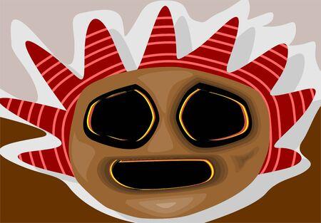 maschera tribale: Illustrazione della fantasia di una maschera tribale