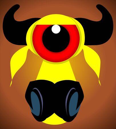 imaginativeness: Illustration of fantasy of bull mask  Stock Photo