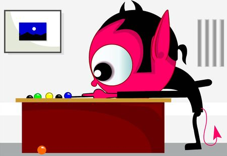imaginativeness: Illustration of fantasy of alien playing billiards  Stock Photo
