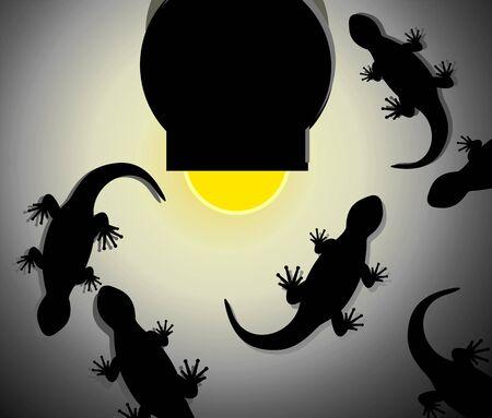 imaginativeness: Illustration of fantasy of lizards around light
