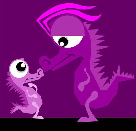 Illustration of fantasy of violet dinosaurs Stock Illustration - 3389280