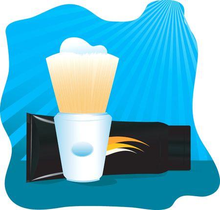 shaving brush: Illustration of a shaving brush and shaving creme  Stock Photo