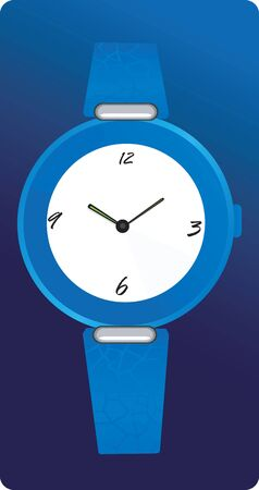 time keeping: Illustration of beautiful stylish ladies watch with blue strap