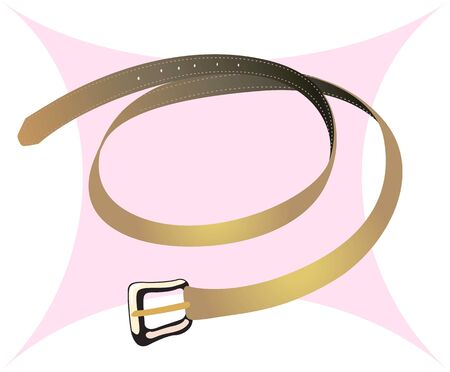 leather belt: Illustration of a leather belt with metallic buckle