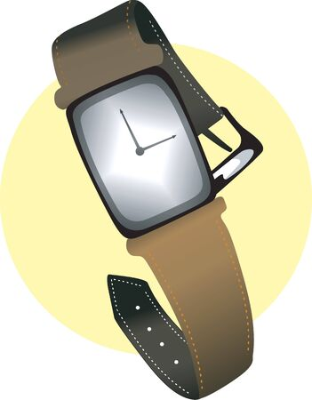 time keeping: Illustration of white dial wrist watch with leather strap  Stock Photo