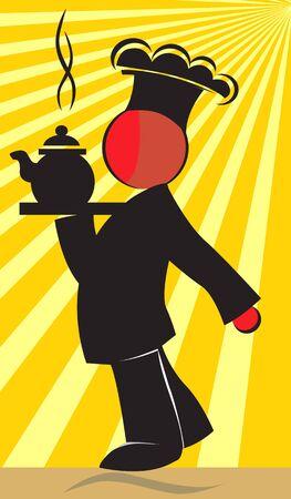 Illustration of chef with hot tea Stock Illustration - 3389206