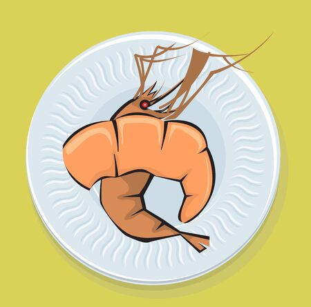 Illustration of prawns in a plate  illustration