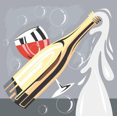 Illustration of wine bottle and goblet Stock Illustration - 3389396