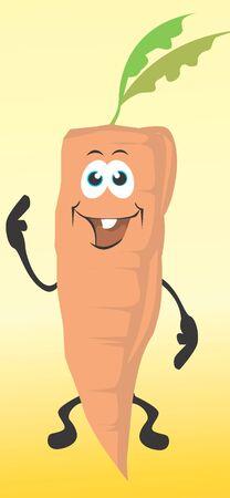 Illustration of cartoon carrot smiling  illustration