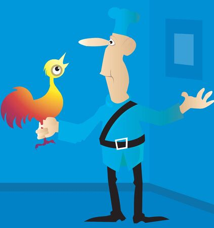 Illustration of a chef holding a live chicken in hand  illustration