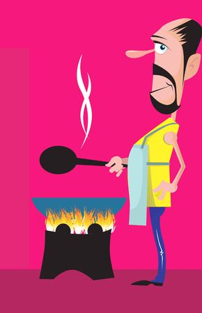 Illustration of a cook standing near a burning stove with ladle  illustration