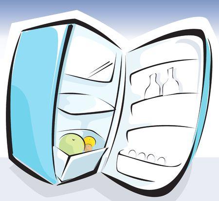 devise: Illustration of a opened refrigerator