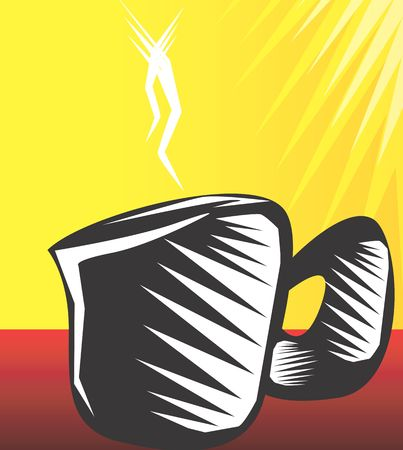 hotter: Illustration of a white and black patterned coffee mug in radiant yellow light  Stock Photo