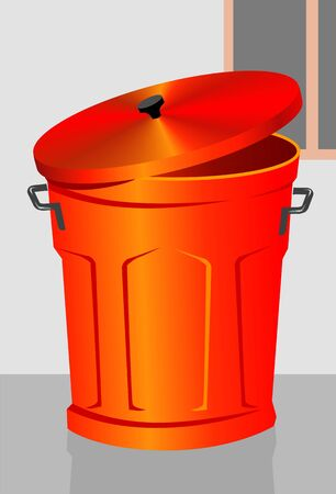 thrash: Illustration of a red dustbin