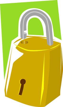Illustration of brass padlock Stock Illustration - 3389425