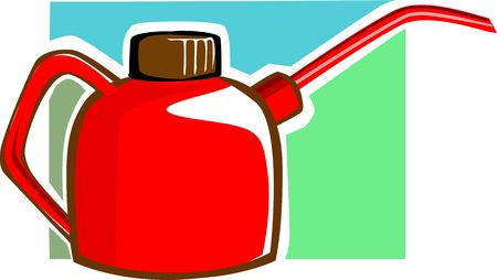 oilcan: Illustration of red oil can  Stock Photo