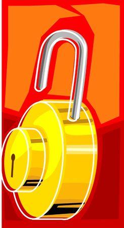 Illustration of brass padlock Stock Illustration - 3389517