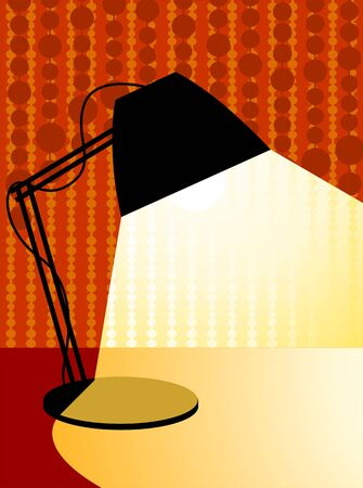 Illustration of black table lamp with yellow light Stock Illustration - 3389715