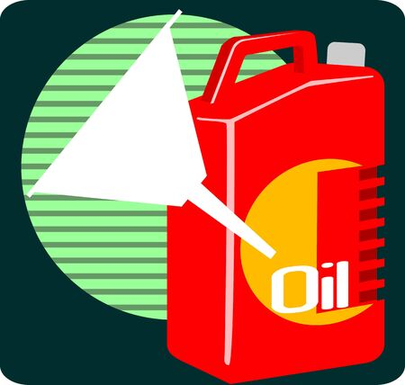 lubricant: Illustration of a red colour lubricant  oil container and funnel