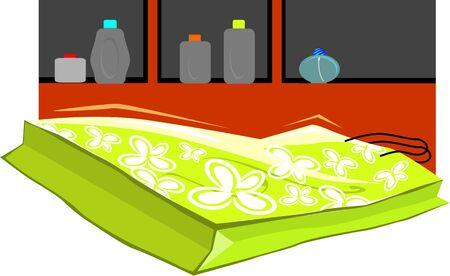 citylife: Illustration of a shopping bag near a shelf
