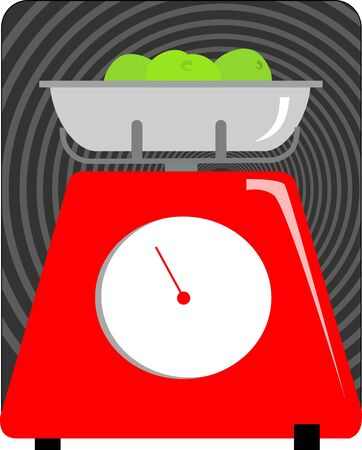 lbs: Illustration of a kitchen weighing machine  Stock Photo