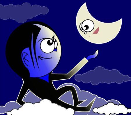 Ilustraci�n de un ni�o mirando a la luna Foto de archivo - 3389787