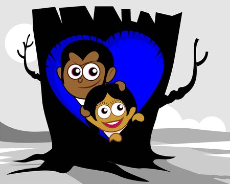 eyes cave: Illustration of a couple hiding in a tree nest