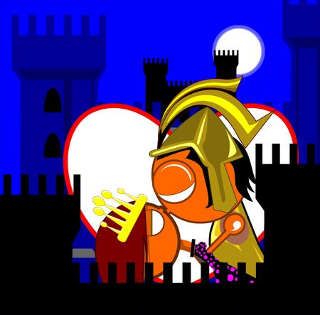 Illustration of a prince and princess in a fort  illustration