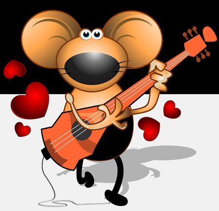 Illustration of a musician mice with guitar,   illustration