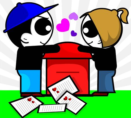 opened eye: Illustration of a boy and girl near mail envelopes with love symbol  Stock Photo