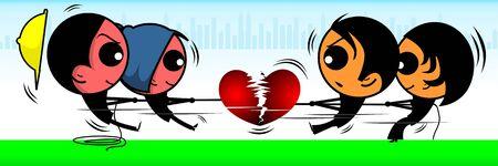 Illustration of girl and boys breaking a heart symbol Stock Illustration - 3389448